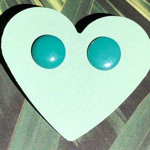 Teal green dot stud pierced earrings  #114